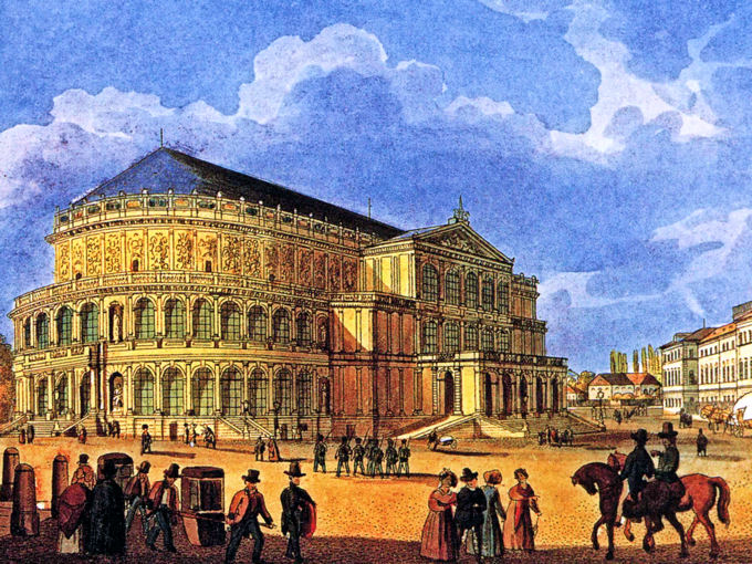 The first opera house of Semper in Dresden, around 1850